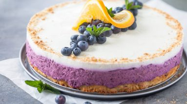 Blueberry cake with frozen berries