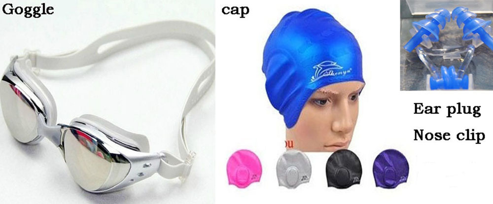 swimming-four-piece-men-and-women-unisex-adult-goggles-swimming-cap-ear-plug-nose-clip-free