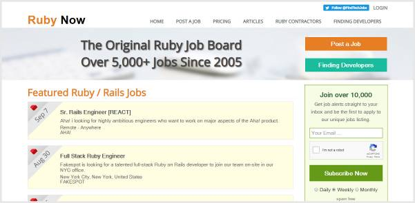 Ruby Now - Niche Ruby on Rails Jobs Board